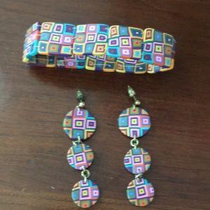 Jewelry - Handmade clay earrings and bracelet set